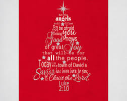Christmas Tree Wall Art with Luke 2 Bible Verse in Red and White - INSTANT  DOWNLOAD