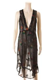 Anthropologie Dress Size Chart Anthropologie Floreat Semi Sheer Black Floral Embroidered Dress Cover Up