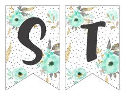 Letter For Banner Free Printable Alphabet Banner Mint Gold Letter Cut Outs Free