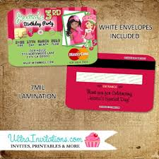 Credit Card Party Invitations Strawberry Shortcake Credit Card Invitations Birthday Party Invites
