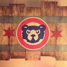 chicago cubs small wooden stained flag handpainted chicago