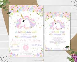 garden party invitations awesome unicorn invitation invite 1st first birthday party pastel rainbow