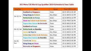 Icc Mens T20 World Cup Qualifier 2019 Schedule Time Table