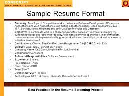 resume screening best practices in the resume screening process sample  resume format summary total 2 yrs