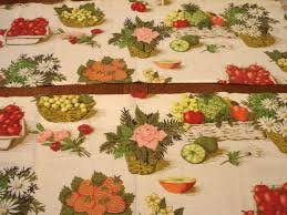 fruit and flowers kitchen window valance 2 pc 68 inches excellent 1940s barkcloth vi