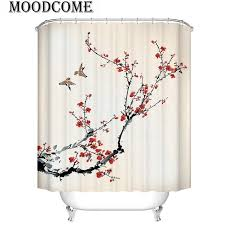 red plum blossom shower curtain bathroom curtain traditional chinese ink painting rideau de 3d winter