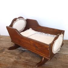 antique vintage wooden baby doll cradle with lace bed set and brahms lullaby box