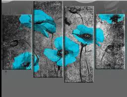 extra large turquoise blue poppies on black painting with mottled background blue canvas wall art print