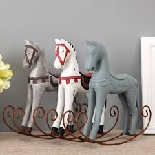 creative wood rocking horse furnishing articles home decoration accessories wooden horse home figurines miniatures gift crafts