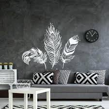 white wall decal feather wall decal vinyl wall sticker feathers art decals tribal bohemian bedroom living white wall decal