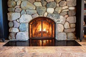 image of glass door fireplace