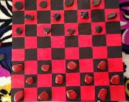 Game With Rocks And Wooden Board Checker board Etsy 72