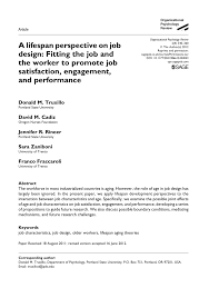 Contemporary Approaches To Job Design Pdf A Lifespan Perspective On Job Design Fitting The Job