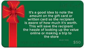 when i give a gift card should i write the amount