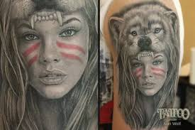 Ivan Wolf | Wolf girl tattoos, Headdress tattoo, Indian girl tattoos
