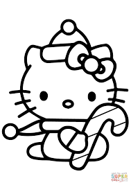 Hello Kitty With Christmas Candy Cane Coloring Page Free Printable