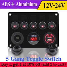 inline fuse box led 5 gang rocker switch panel 2 usb charger socket NH Fuse Switch at Fuse Box To Tagle Switch