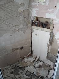 water damaged shower with bathroom installation in leeds this showers tiles were falling off
