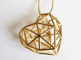 metal heart pendant 3d printed