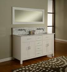 55 inch double sink bathroom vanity: white custom bathroom vanities with tops under framed mirror over laminate bathroom floor full