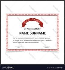 Certificate Template With Red Designe Borders On