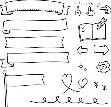手書きの旗やリボンのイラストセット イラスト素材 5516944 フォト