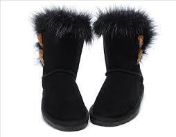 ... UGG Australia 5685 Short Fox Fur Boots For Women Black ...