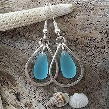 handmade in hawaii wire loop turquoise bay blue sea gl earrings sterling silver hook unique gift beach jewelry