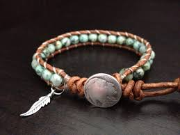 turquoise leather wrap bracelet with sterling silver feather