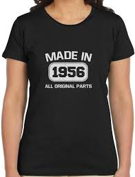60th birthday gift idea made in 1956 women t shirt funny present custom print cal