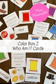 We have 2 stop signs, stop sign and coloring stop sign. Color Box 2 Who Am I Cards Free Printable Momtessori Life