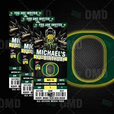 Ducks Football Seating Chart Oregon Ducks Ticket Style Sports Party Invitations