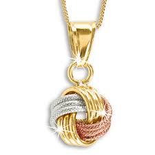 tri gold 9ct love knot pendant