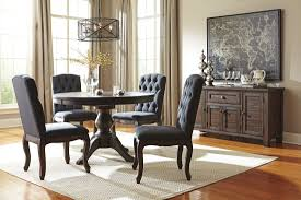 Pedestal Dining Table Set Trudell Dark Brown Round Extendable Pedestal Dining Room Set