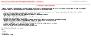 Employee Working Certificate Format Kitchen Helper Work Experience Certificate 95