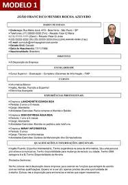 Corriculo Exemplo Gerador De Curriculum Vitae Online Com Foto 9 Modelos De
