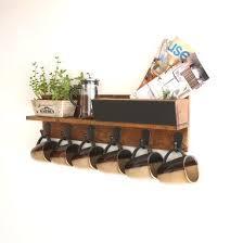 reclaimed wood mug rack urban rustic. Rustic Wall Mounted Coffee Mug Rack With Shelf, Cup Reclaimed Wood Urban O