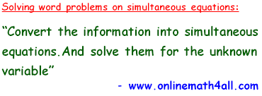 word problems on simultaneous equations