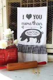pig decor for kitchen flour sack farmhouse style country cottage chic ruffle pig i love you more than bacon pig chef kitchen decor
