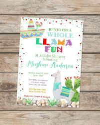 Llama Baby Shower Invitation Fiesta Baby Shower Invitations