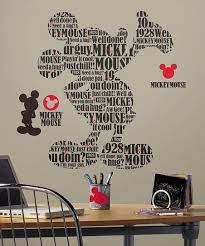 typography mickey mouse wall decal set
