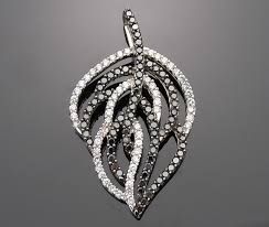 1 28 carat black and white diamond leaf pendant for necklace 14k white gold 0 52 carat black and white diamond fancy pendants for necklace1 44 carat of
