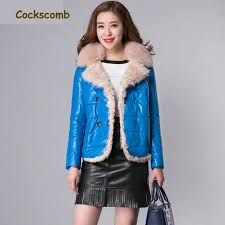 comb real fox fur collar lamb fur trim women s leather jackets women short natural leather jacket female sheepskin coat cotton jacket leather jacket