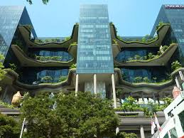 <p>The Singapore hotel appears as if two columns of forest grow between its