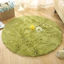 fluffy round kids rug