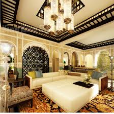 Awesome Moroccan Living Rooms Designs Ideas With Cream Wall Chandelier  White Sofas Table Grey and Green Pillow Motif Rug