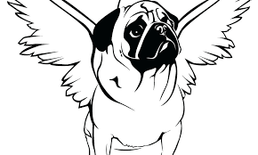 Pug Dog With Wing Coloring Pages Print Coloring