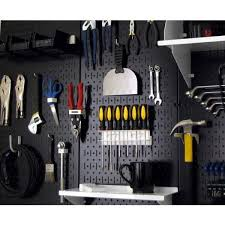 overall size black metal pegboard pack