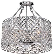 mariella 4 light crystal semi flush mount chrome