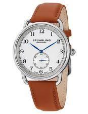 stuhrling watch stuhrling 207 01 cuvette decor swiss quartz leather strap brown mens watch